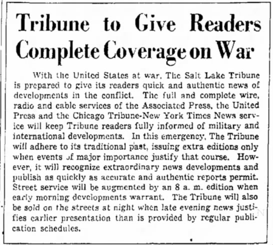 Tribune to Give Complete Coverage on War -