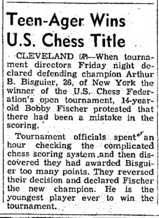 Teen-Ager Wins U.S. Chess Title -