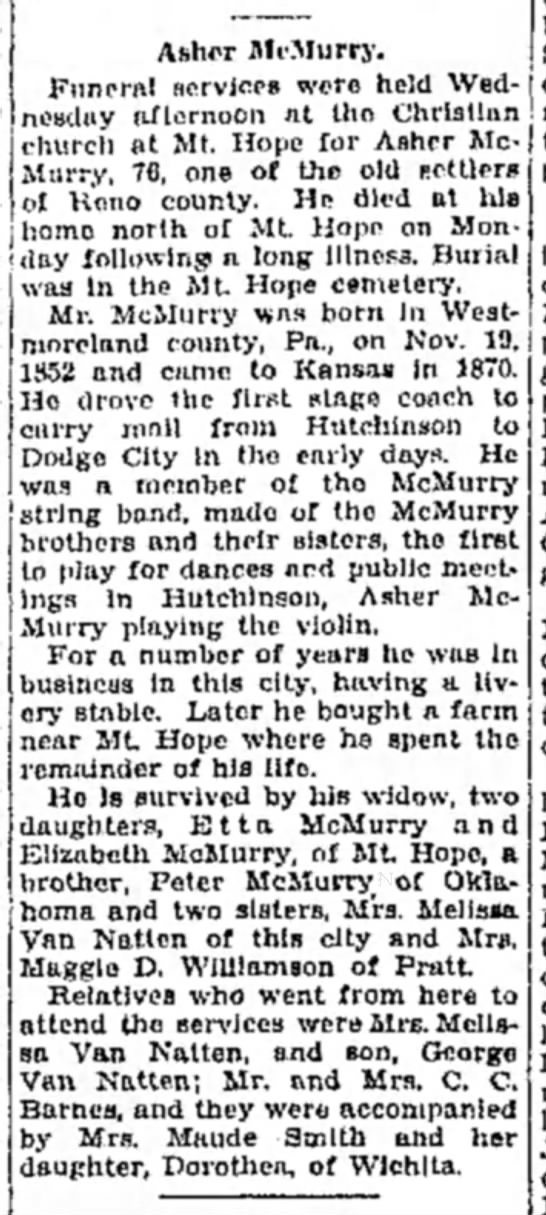 1928 Asher McMurry Obit 8 Nov Hutch News P2 -