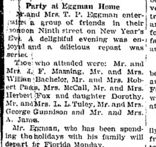 Mr & Mrs M F Manning - Party at Uggman Home f.and Mrs. T. P. Kggnmn...