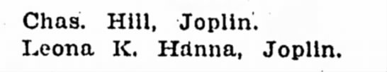 Leona Hanna and Charles Hill Marriage License