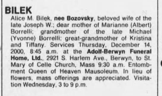 Alice Bilek nee Bozovsky obituary -
