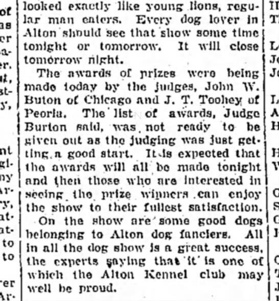 J T Toohey, Judge March 23, 1926 -
