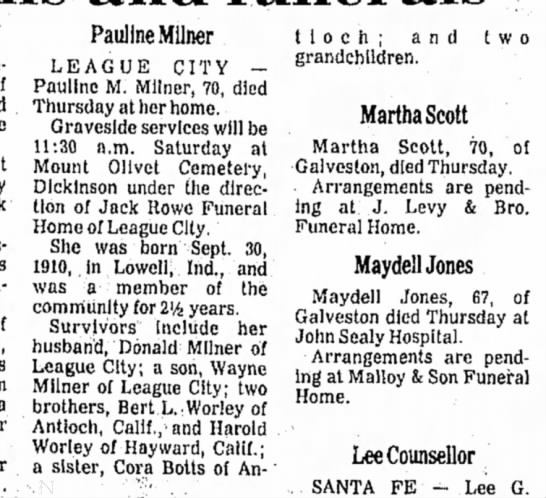 Pauline Milner obituary -