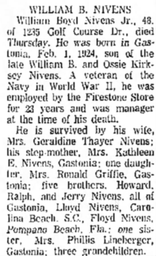 Grandson of John Jesse Nivens - WILLIAM B. NIVENS William Boyd Nivcns Jr., 48,...