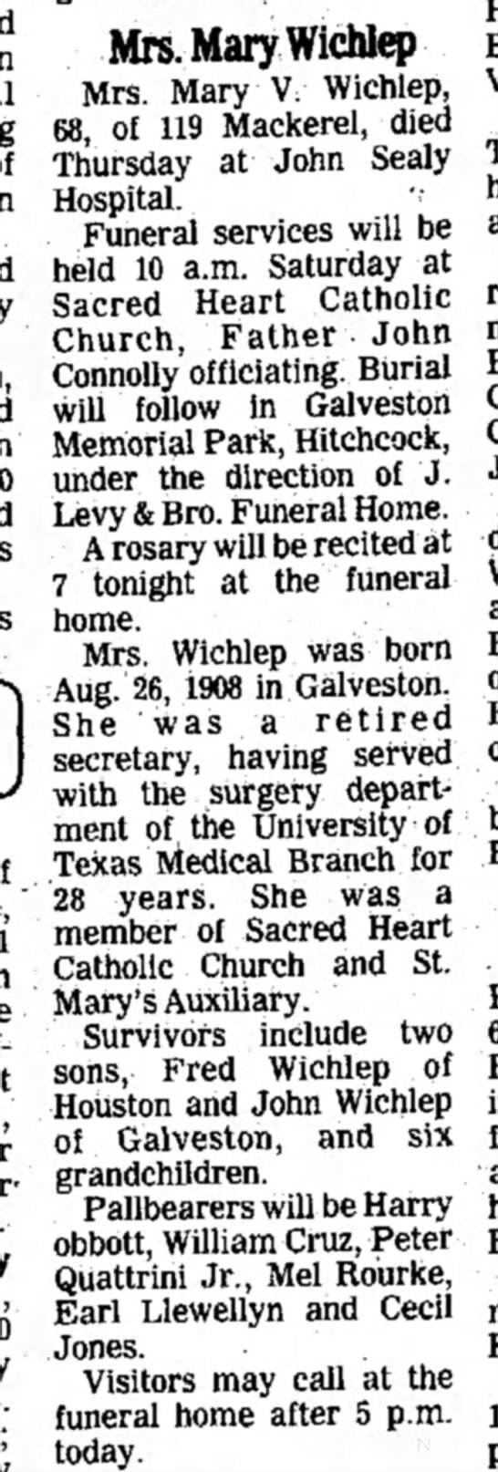 Friday, March 11, 1977 Mary V.Wichlep -