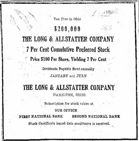 Long Allstatteer Company 7 Percent Cumulative Preferred Stock -