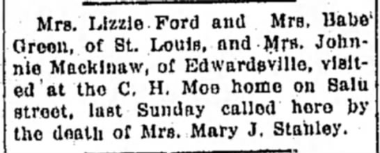 Mrs Lizzie Ford, Mrs Babe Green, Mrs Johnnie Mackinaw - Mrs. Lizzie Ford and Mrs. Babe Green, of St....