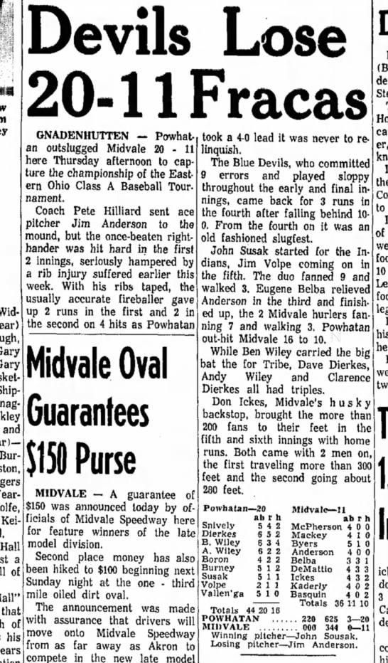 Dave Dierkes, Powhatan baseball, Daily Reporter, Dover, OH 10 May 1963 -