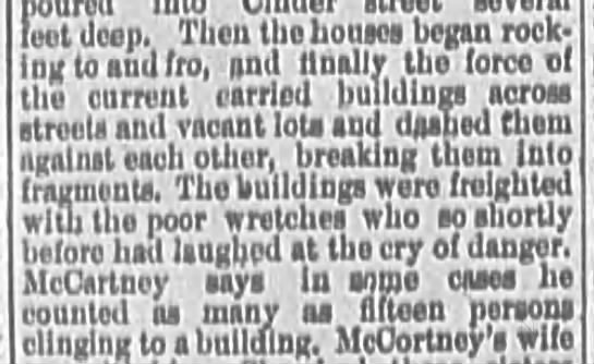 Houses washed away in Johnstown Flood of 1889 -