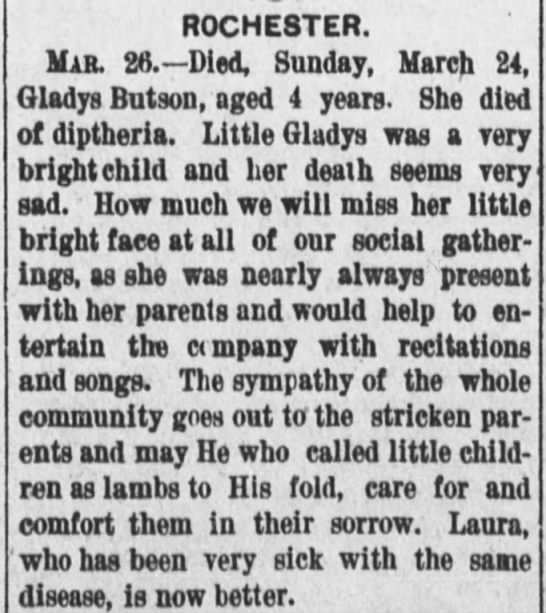 Obituary for little girl who dies from diptheria - 1895 -
