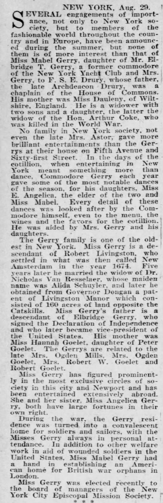 Gerry family history, Aug 30, 1925 -