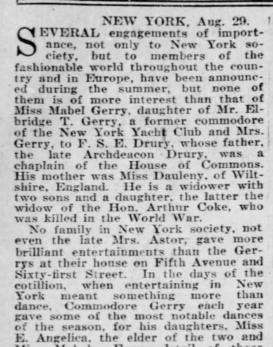 Gerry family history, Aug 30, 1925 - NEW YORK, Aug. 20. I SEVERAL engagements of...