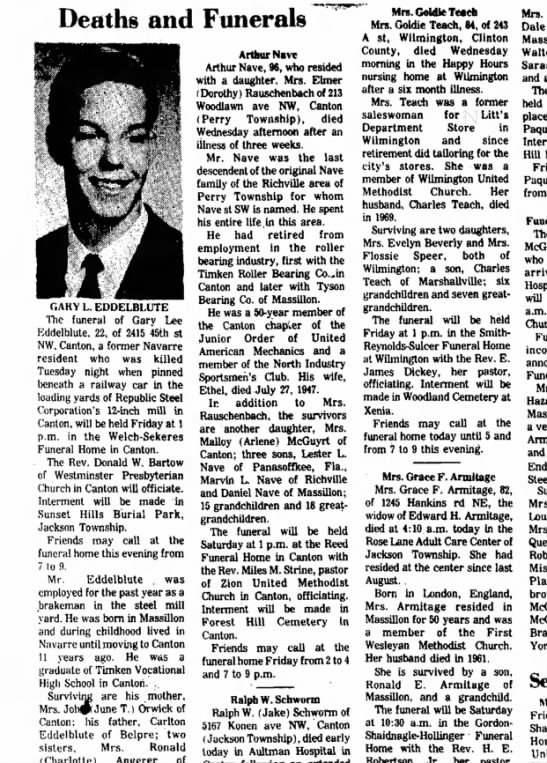 Grandma's Dad's obit 10 Jan 1974 -