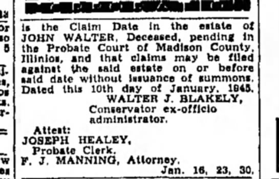 F Manning - Is the Claim Date In the estate 01 JOHN WALTER,...