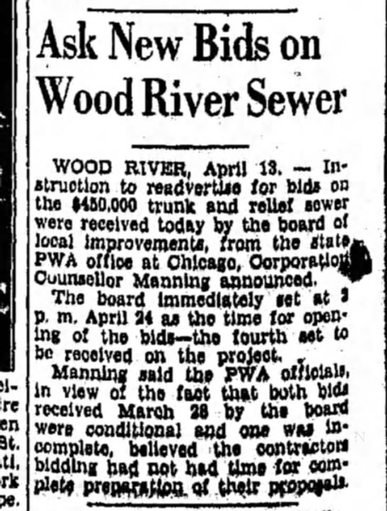 F Manning - St. Ask New Bids on Wood River Sewer WOOD...