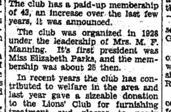 Mrs M F Manning - The club has a paid-up membership of 43, an...