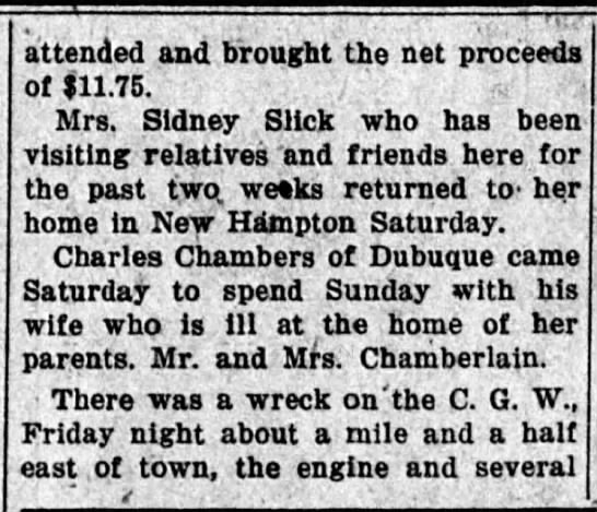Charles Chambers sick wife - attended and brought the net proceeds of...