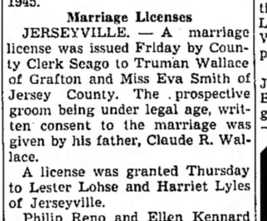 Lohse - Lester - marriage license to Harriet Lyles - 1945. Marriage Licenses JERSEYVILLE. — A...