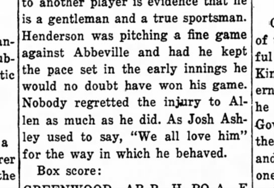 Josh Ashley quoted in sports column Jul 1922 - Newspapers com