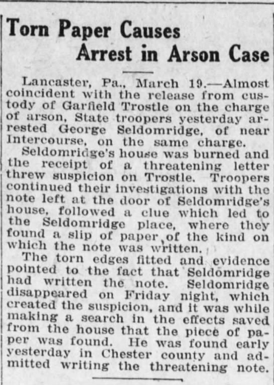 Torn paper causes arrest of George Seldomridge, Lancaster, PA -