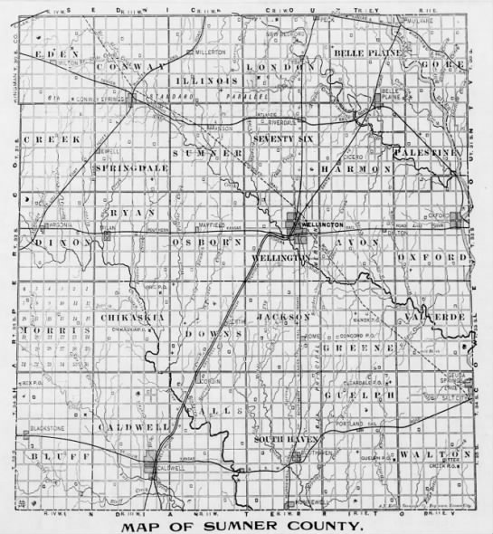 Sumner County Kansas Map.Map Sumner County Ks People S Voice Wellington 4 May 1899 Thu