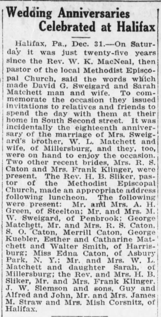 Wedding Anniversary Celebrated at Halifax -- David G