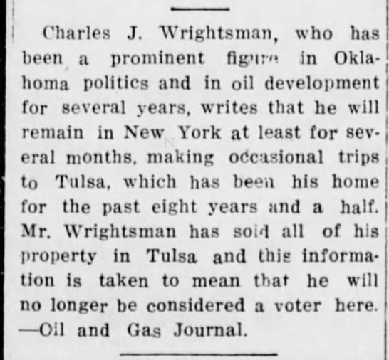 Wrightsmans move to New York from Tulsa_1915. -