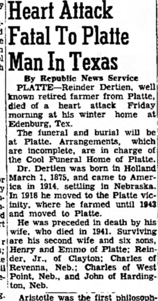 Reinder Dertien death notice -