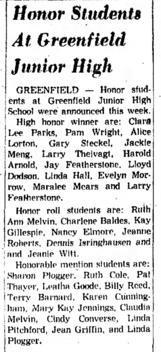 Pam on Junior High Honor roll -