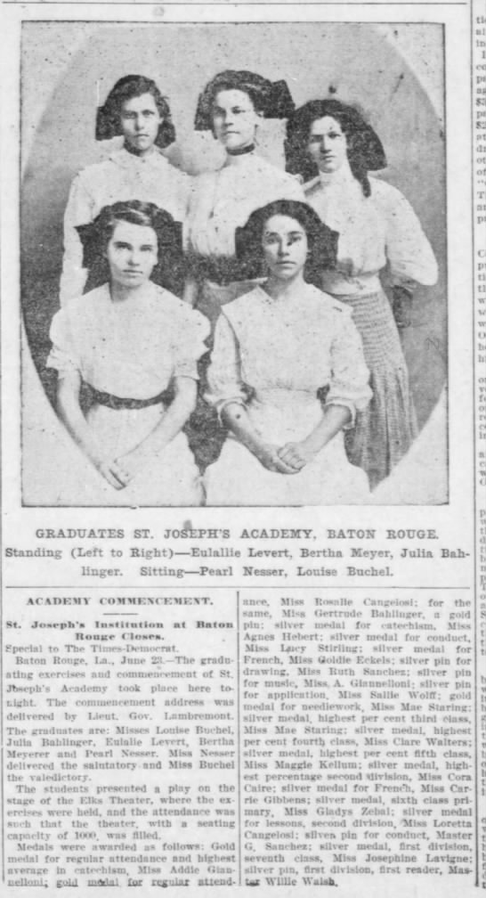 NEWS 1910 Jun 24 GOLDIE ECKELS St JOSEPH ACADEMY Silver Pin for drawing -