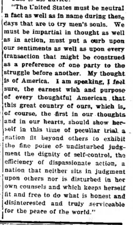 Wilson quote in support of neutrality (1914) -