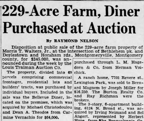 Carmine sold the Bellevue Diner to two Greeks on October 11, 1953 for $64,000 -