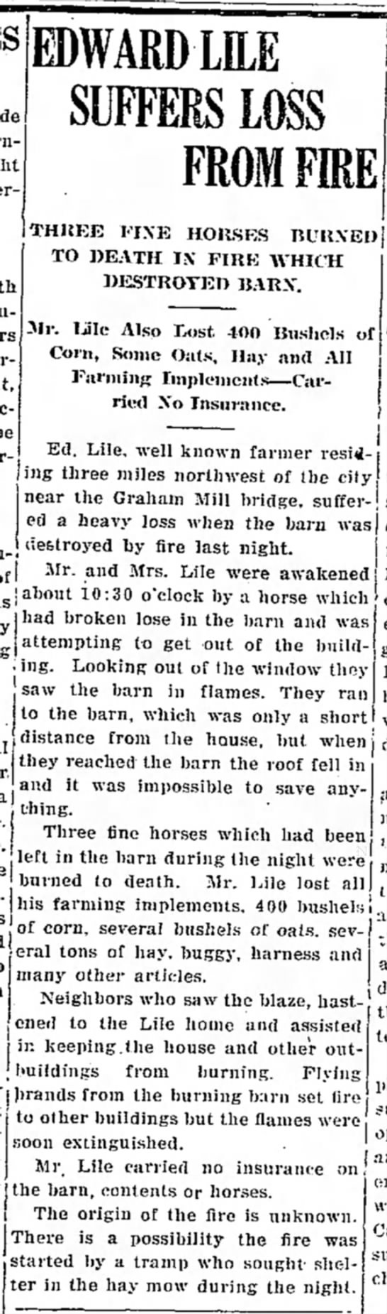 Edward Lile/Chillicothion Tribune, Chillicothe, MO 26 Mar 1927 - be| EDWARD LILE SUFFERS LOSS FROM FIRE THREE...