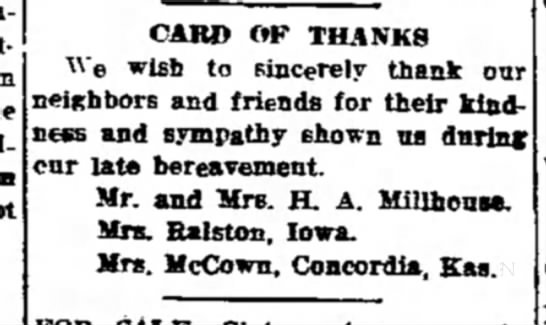 Millhouse card of thanks for death sympathy 1913 Missouri and Iowa -