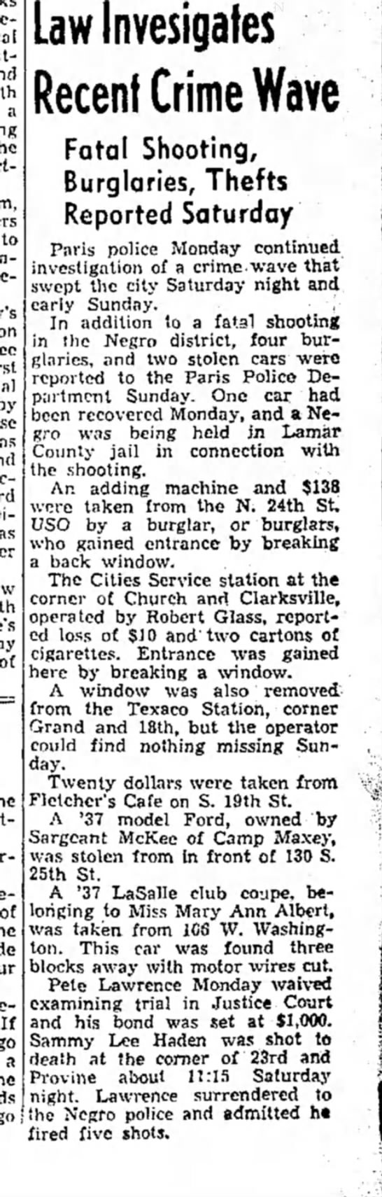 The Paris News, 24 Jan 1944: Sammie Lee Hayden -