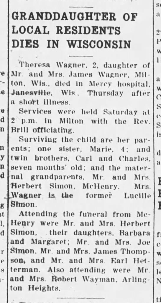 1950 Jun 8 Theresa Wagner 2 granddaughter of Mr and Mrs Herbert Simon -
