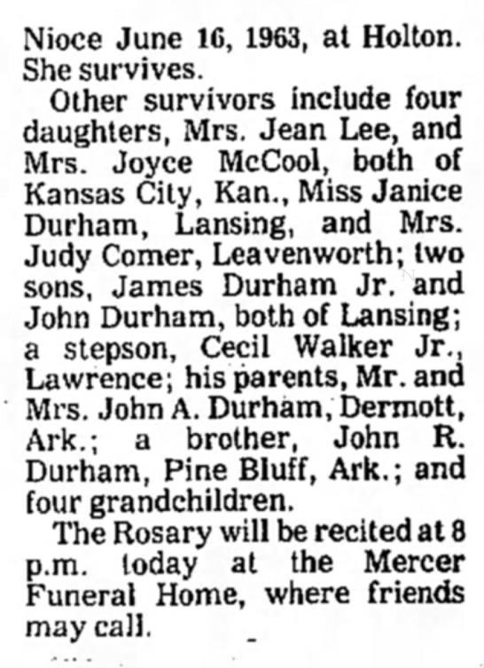 James Durham Obituary (continued) -