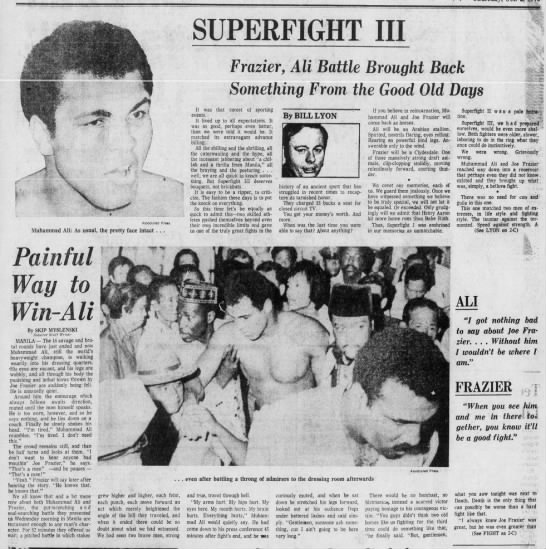 """Newspaper coverage of the """"Thrilla in Manila"""" Fight between Muhammad Ali and Joe Frazier in 1975 -"""