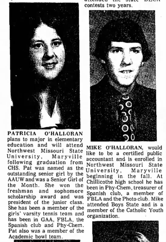 Patty& Mike O'Halloran hs seniors 1974 Chillicothe -