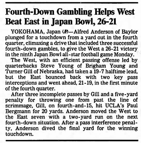 Fourth-Down Gambling Helps West Beat East un Japan Bowl, 26-21 -