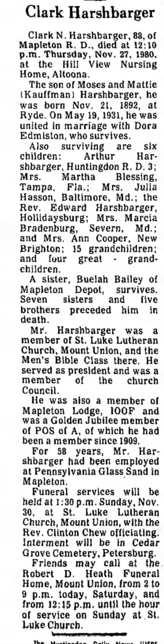 Clark Harshbarger obit-TDN-29 Nov 1980-p5 -