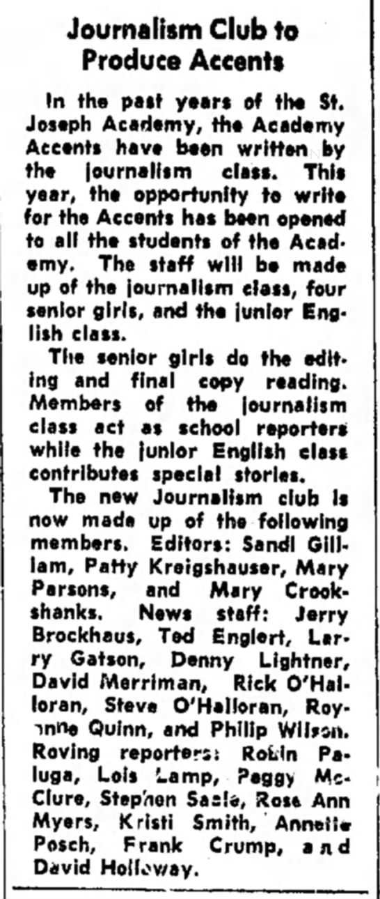 O'halloran journalism club 1966 -