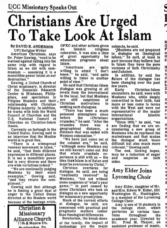 Dr Peter Gowing speaks on Islam 1981 -