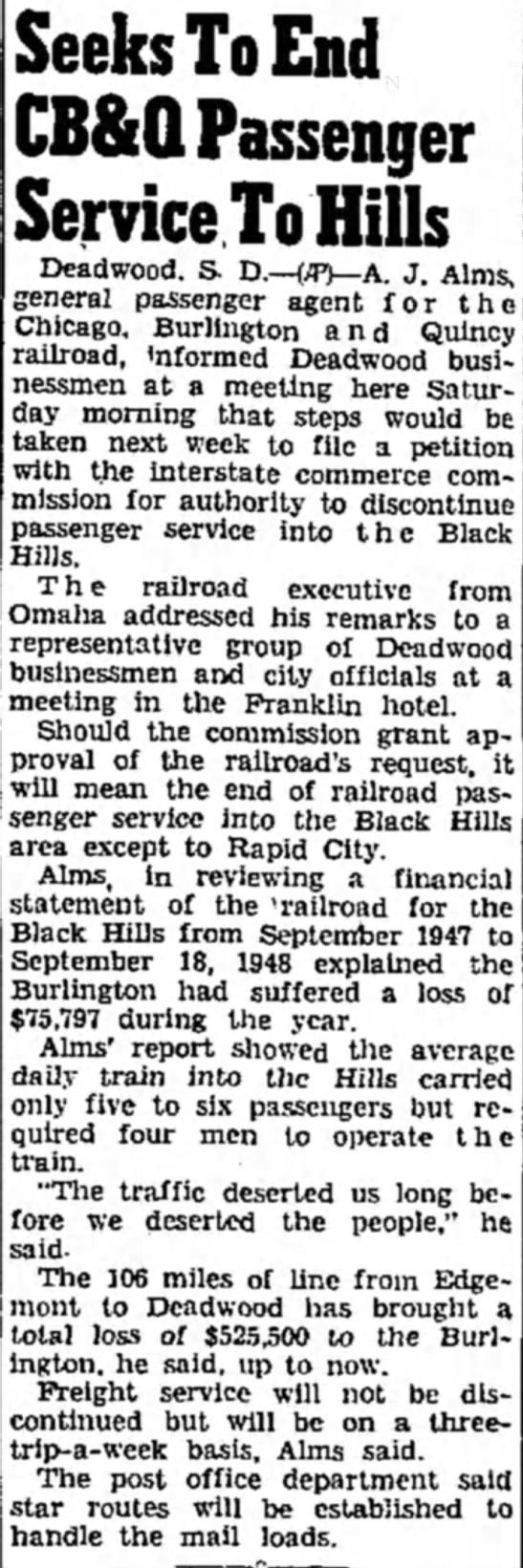 End Passenger Service to Black Hills -