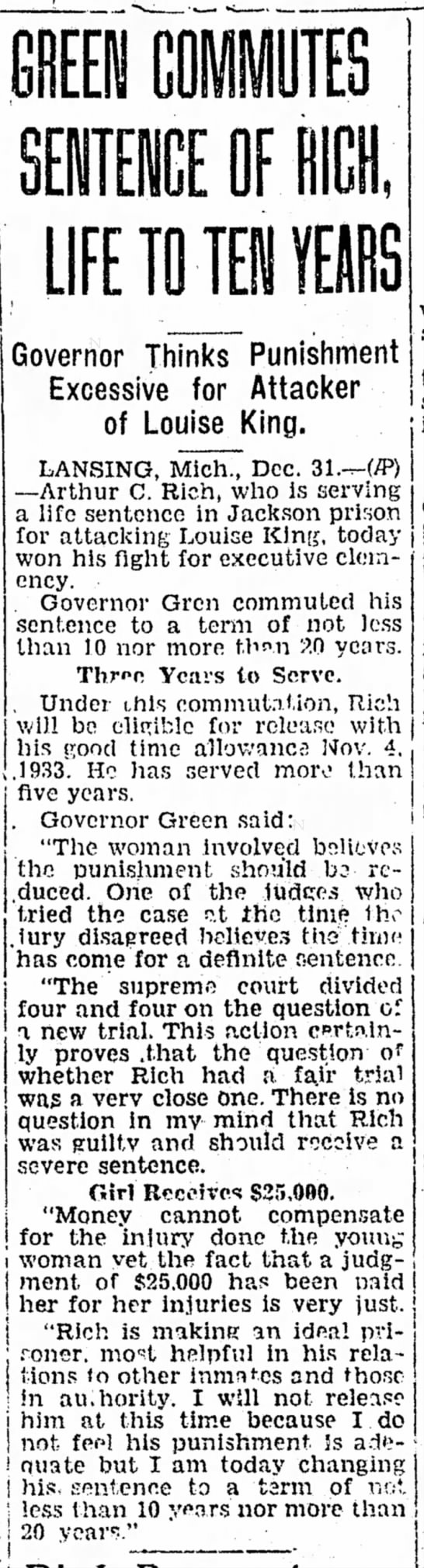 12/31/1930Rich sentence reduced to 10 yrs Daily News Ludington Post -