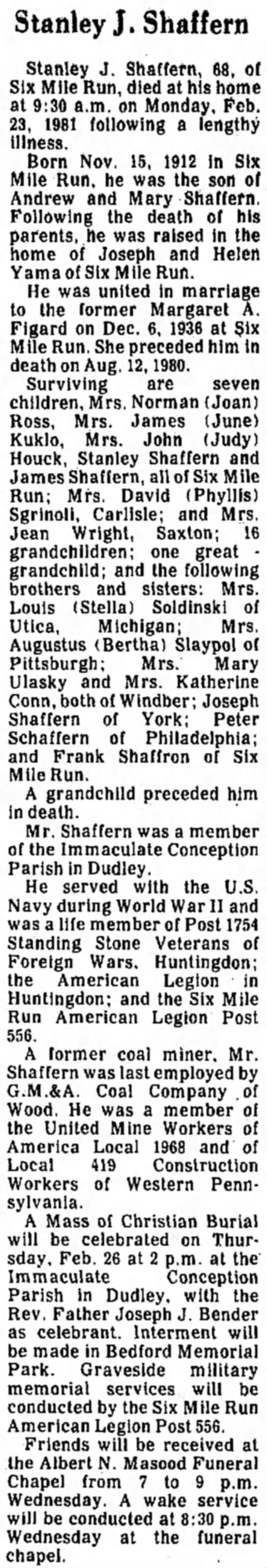 Stanley James Shaffern - J, Shaffern Stanley J. Shaffern, 68, of Six...