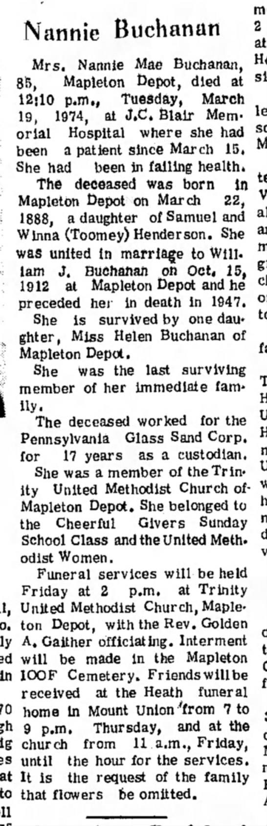 Nannie Buchanan-Obit-TDN-p.2-20 Mar 1974 - Buchanan Mrs. Nannie Mae Buchanan, 85, Mapleton...