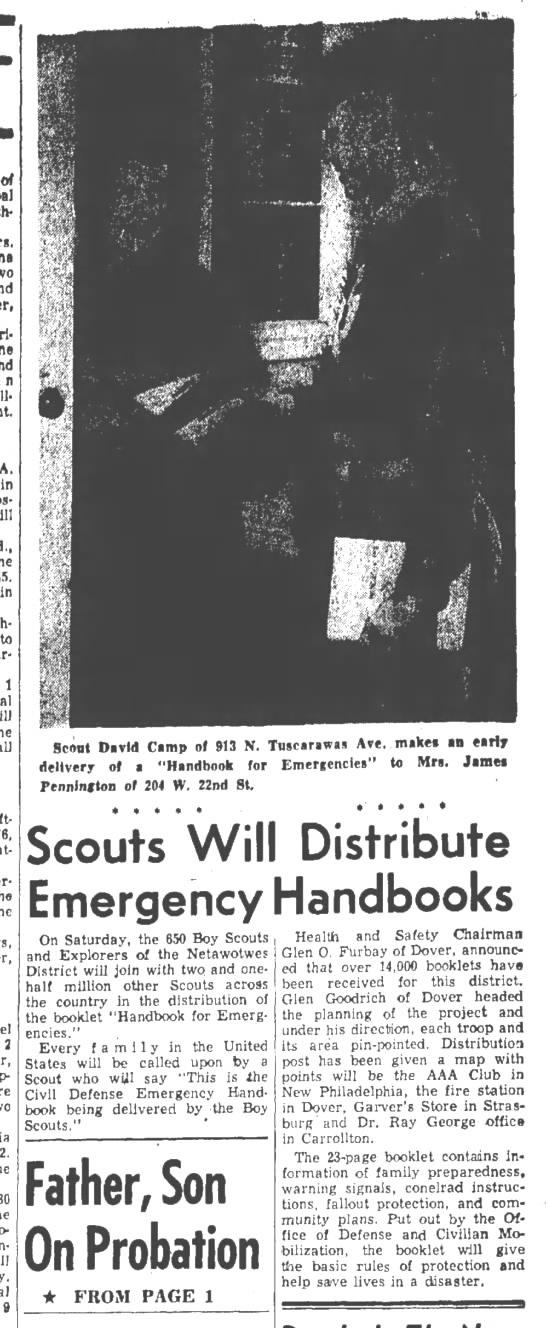David Camp Boy Scouts Handbook for Emergencies 9 Oct 1958 -