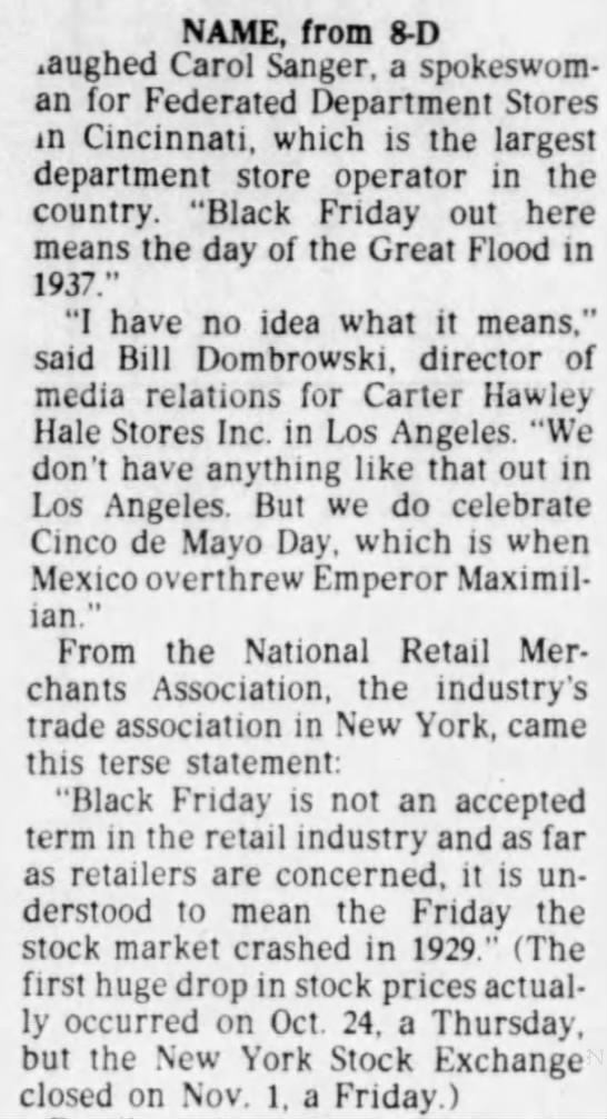 "Term ""Black Friday"" not widely used outside Philadelphia, 1985 -"